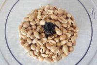 Geröstete Erdnüsse im Mixer zu feinen Mus verarbeiten.